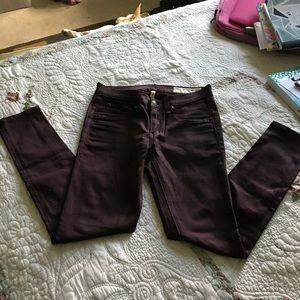 Rag & bone coated wine leggings size 24 Cotton mix